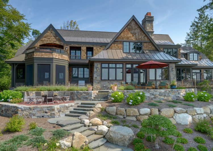 Lake Sunapee Home Timber Frame Hybrid with stunning woodwork