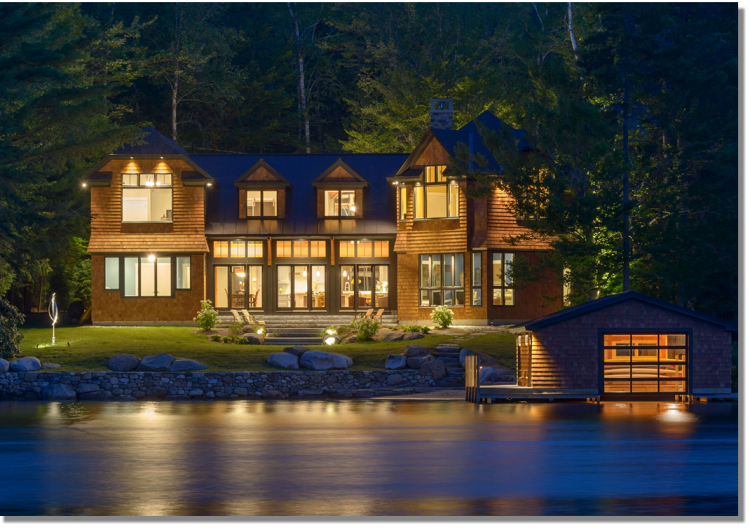 Striking Custom Home and Boat House situated on Lake Sunapee NH