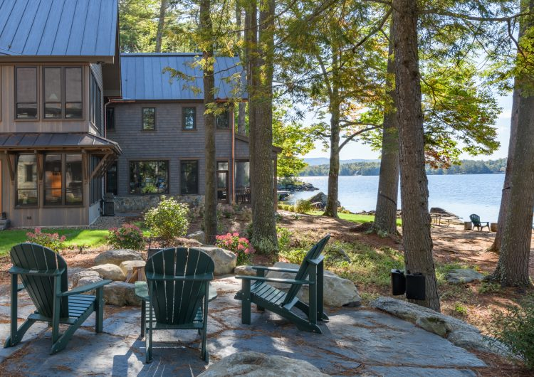 Unique design on Pleasant lake New London NH custom home with an additional summer home